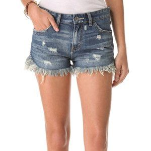 Free People Distressed Denim Shorts Dolphin Hem 27